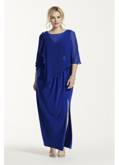 Long Jersey Dress with Chiffon Caplet 3193DW