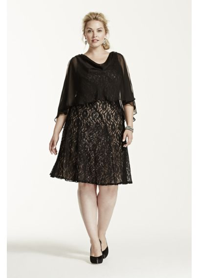Short Lace Dress with Chiffon Caplet 3204DW