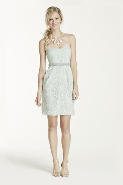 Short Strapless Lace Dress with Sequin Waist | David's Bridal
