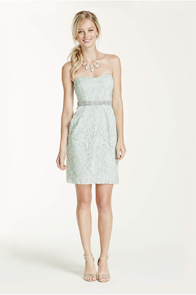 Short Strapless Lace Dress with Beaded Appliques - Davids Bridal