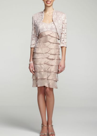 3/4 Sleeve Lace Jacket Dress with Tiered Skirt 3239
