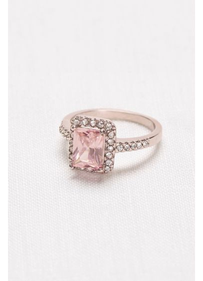 Radiant-Cut Blush Halo Ring - Wedding Accessories