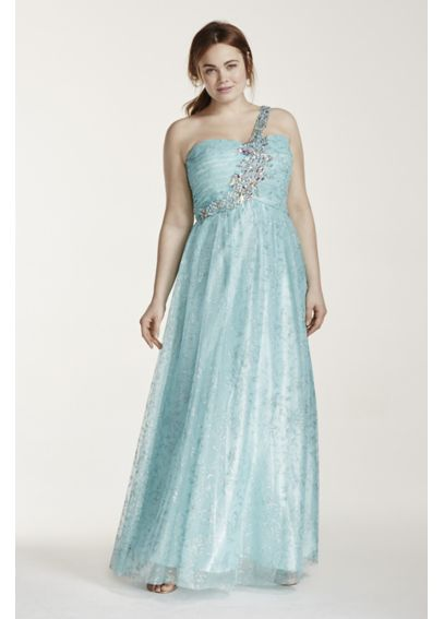 One Shoulder Tulle Prom Dress with Crystal Beading 328062DW