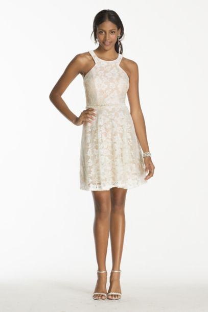 Short Lace Dress with Bead Embellished Waist | David's Bridal