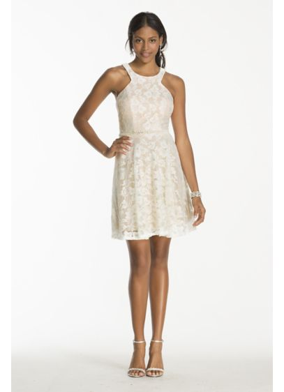 Short lace dress with bead embellished waist david 39 s bridal for White after wedding party dress