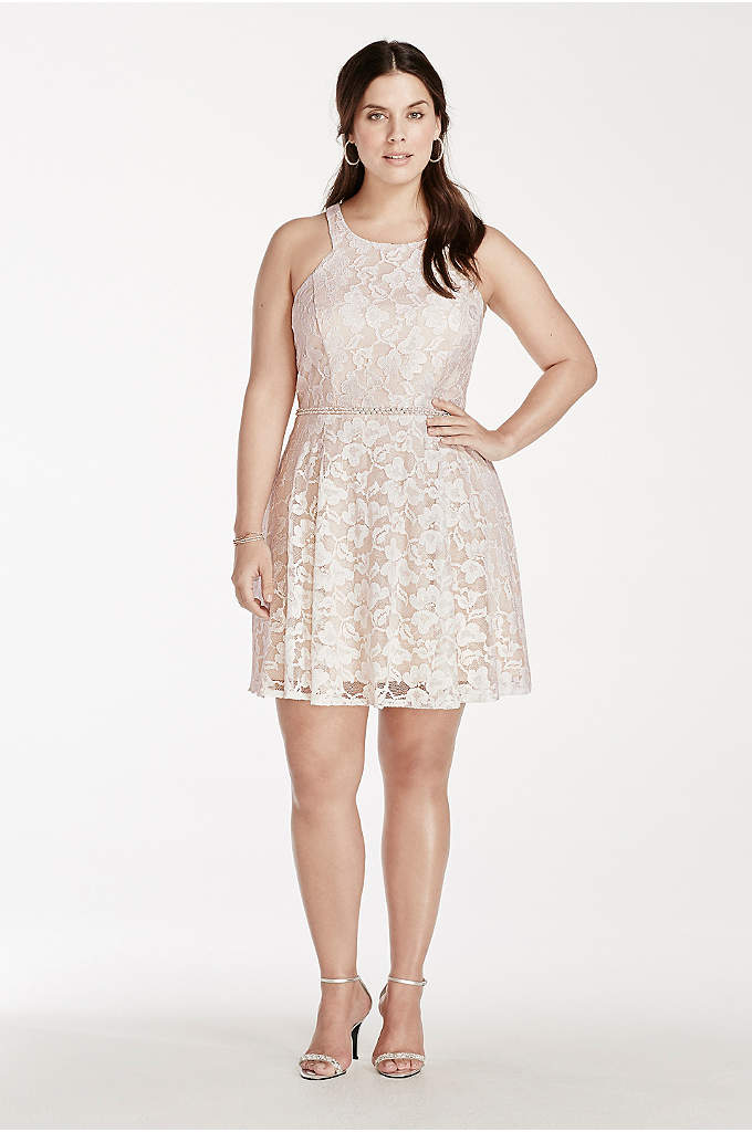 Lace Plus Size Dress with Embellished Waist