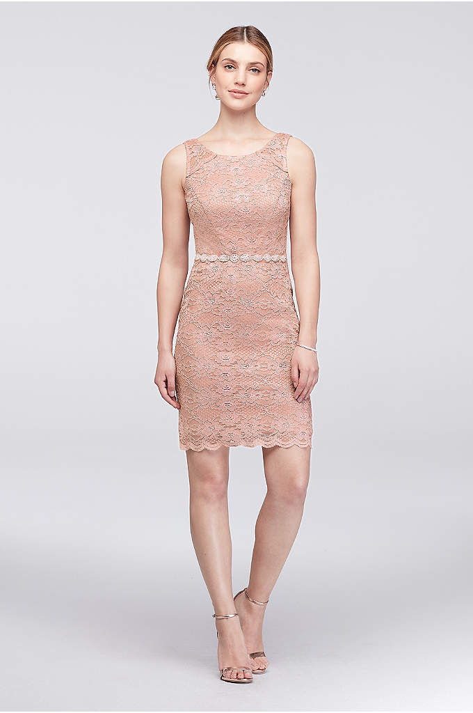 Sleeveless Lace Cocktail Dress with Beaded Waist - This stretch-lace sheath dress is lent pretty shimmer