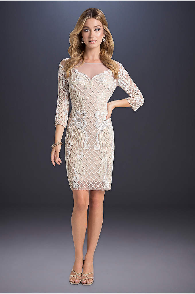 Alice Beaded Dress - Walk down the aisle in this short, statement-making