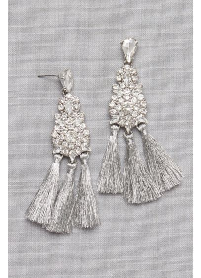 Thread Fringe Crystal Cluster Earrings - Wedding Accessories