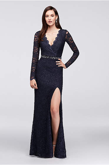 Glitter Lace Surplice Mermaid Gown with Keyhole