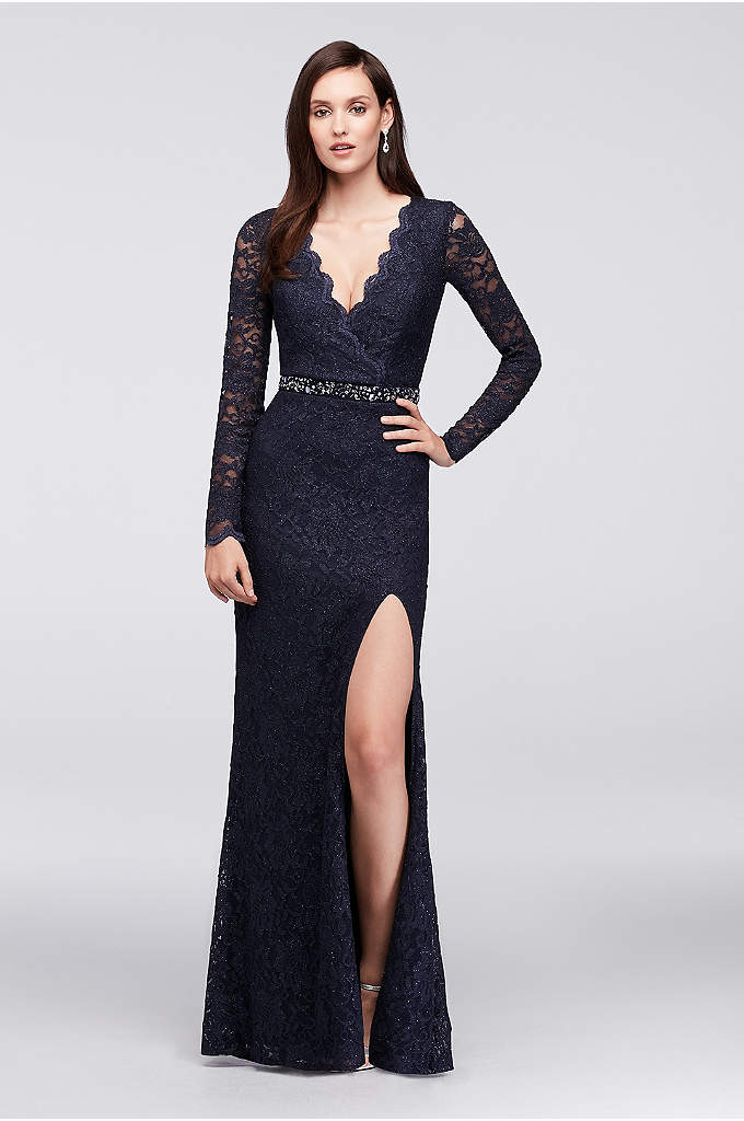 Glitter Lace Surplice Mermaid Gown with Keyhole - Sleek and shimmery, this long-sleeve glitter lace gown