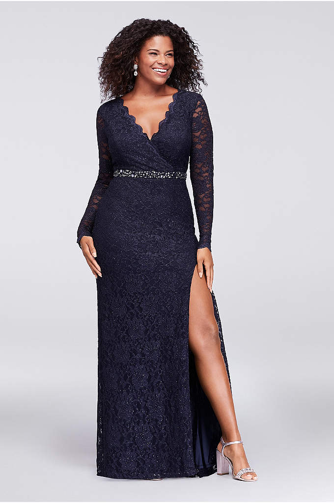Glitter Lace Surplice Plus Size Mermaid Gown - Sleek and shimmery, this long-sleeve glitter lace plus-size
