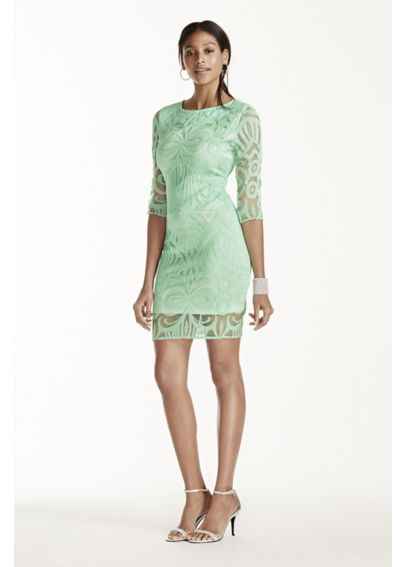 Illusion Sleeve Crochet Knit Sheath Dress 33446