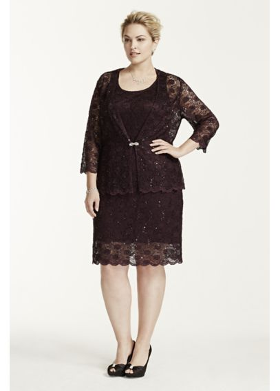 3/4 Sleeve Brooch Closure Jacket with Lace Dress 3369WP