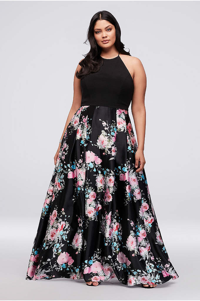 Jersey and Floral Satin Plus Size Halter Ball - Sophisticated yet sweet, this satin and jersey prom
