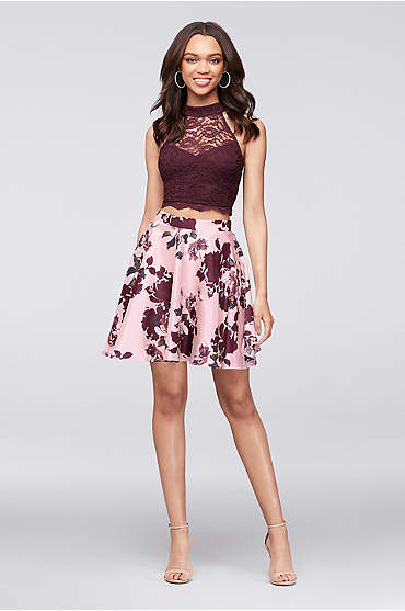 Lace Crop Top and Printed Skater Skirt Set