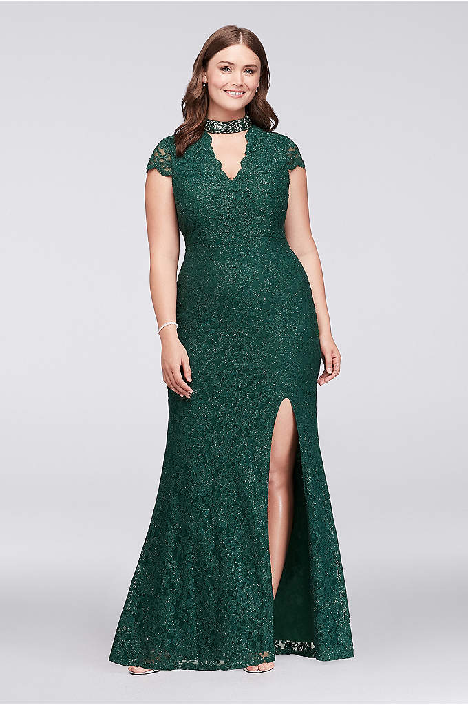 Glitter Lace Plus Size Gown with Gem Neckline - A dazzlingly beaded cutout neckline adds an uniquely