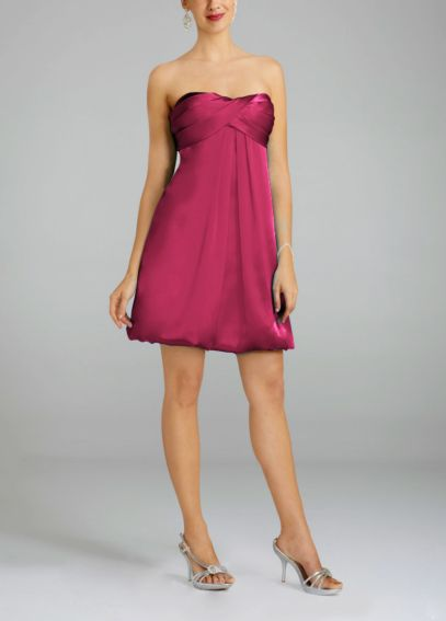 Charmeuse Short Dress with Bubble Hem 34948F