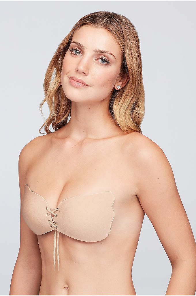 Braza Cleavage Pal Adhesive Bra - This adhesive backless, strapless bra features adjustable lacing