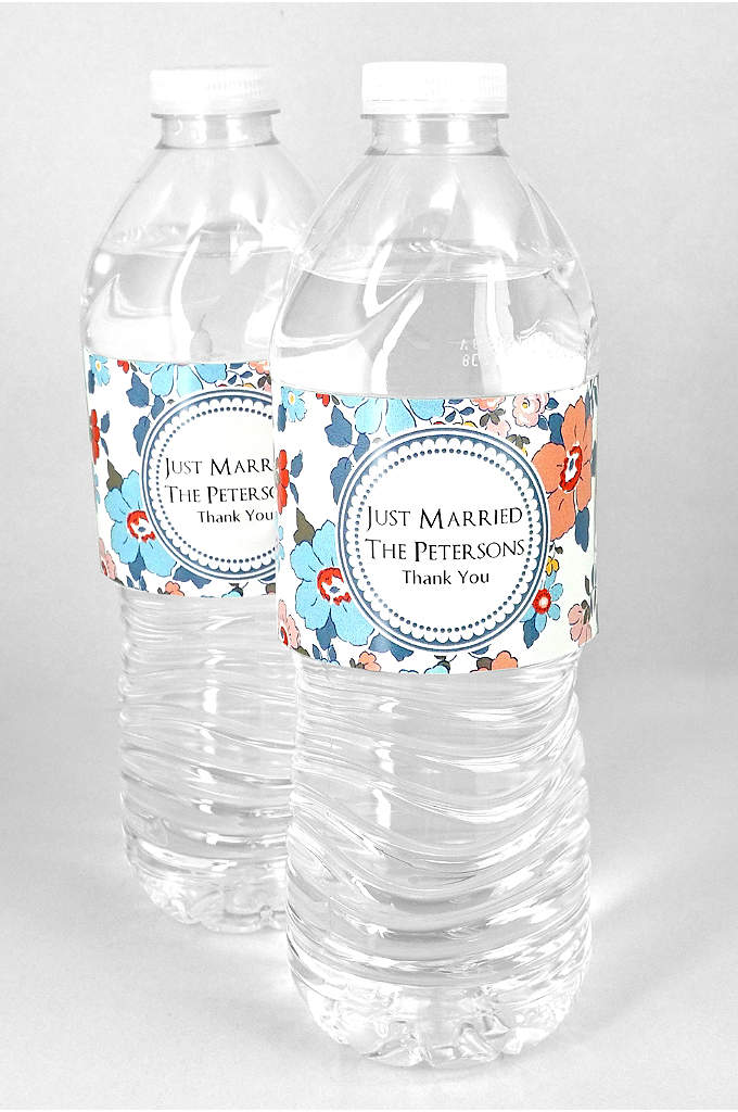 Personalized Floral Water Bottle Labels Set of 5 - Guests will remember special details of your wedding