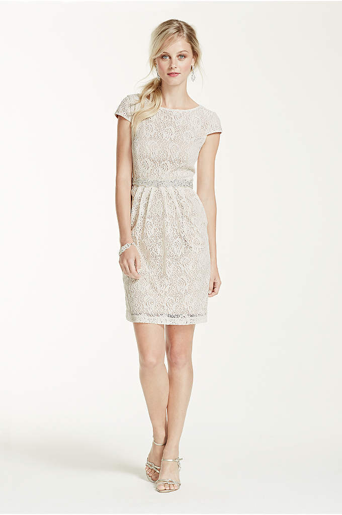Short Lace Cap Sleeve Dress with Side Pockets - This short and sassy lace dress has tons