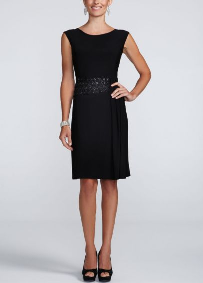 Cap Sleeve Jersey Dress with Beaded Waist Detail 3540