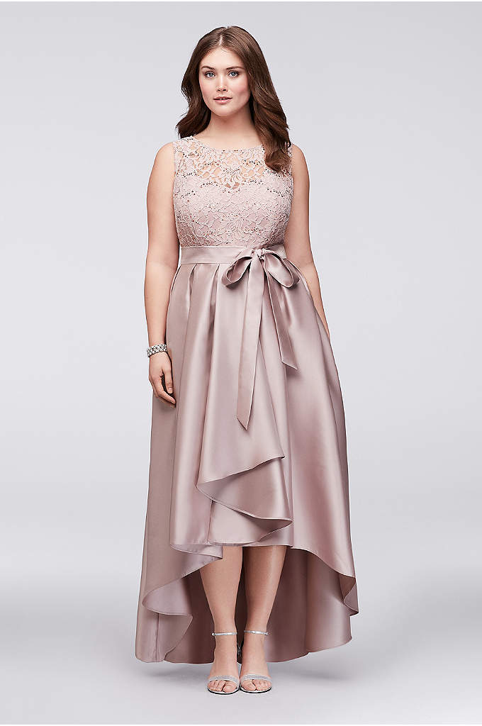 Sequined Lace Dress with Mikado Skirt - Perfect for a dressy wedding, this mother of