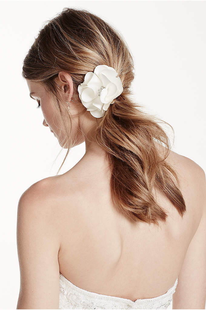 Fabric Flower Clip with Rhinestone Center - Accent your hairstyle with this beautiful floral hair