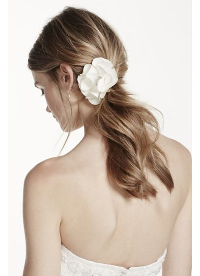 Fabric Flower Clip with Rhinestone Center - Wedding Accessories