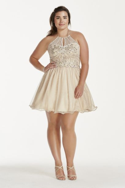 Illusion Crystal Beaded Short Chiffon Halter Dress | David's Bridal
