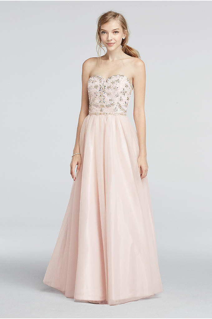 Strapless Mesh Prom Dress with Beaded Bodice