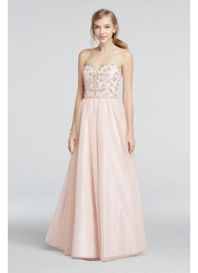 Strapless Mesh Prom Dress with Beaded Bodice | David\'s Bridal