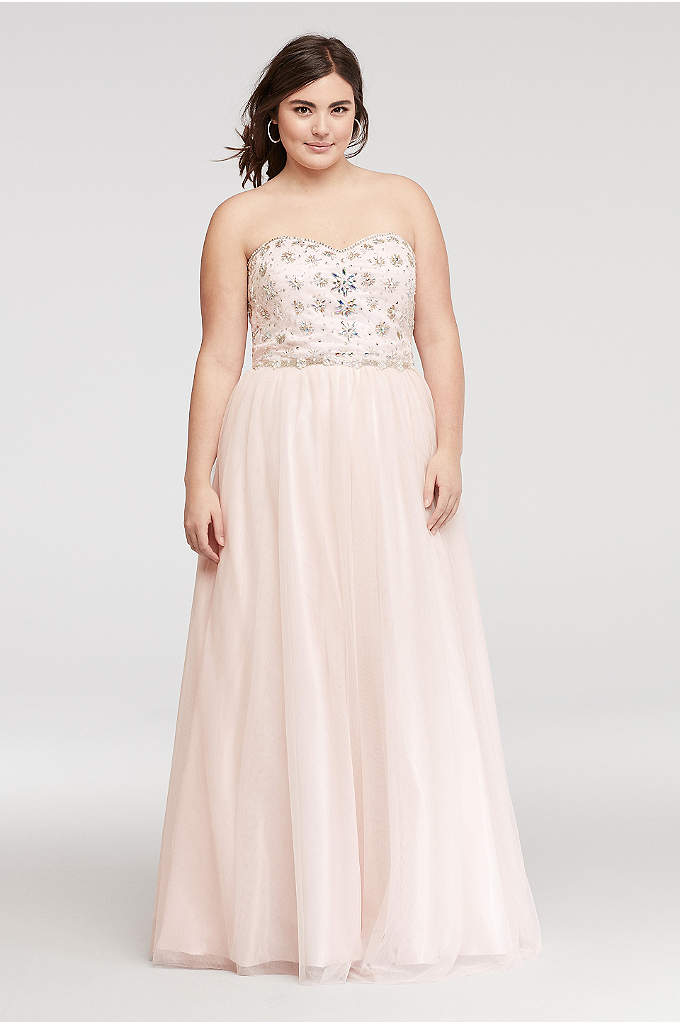 Strapless Mesh Prom Dress with Embellished Bodice