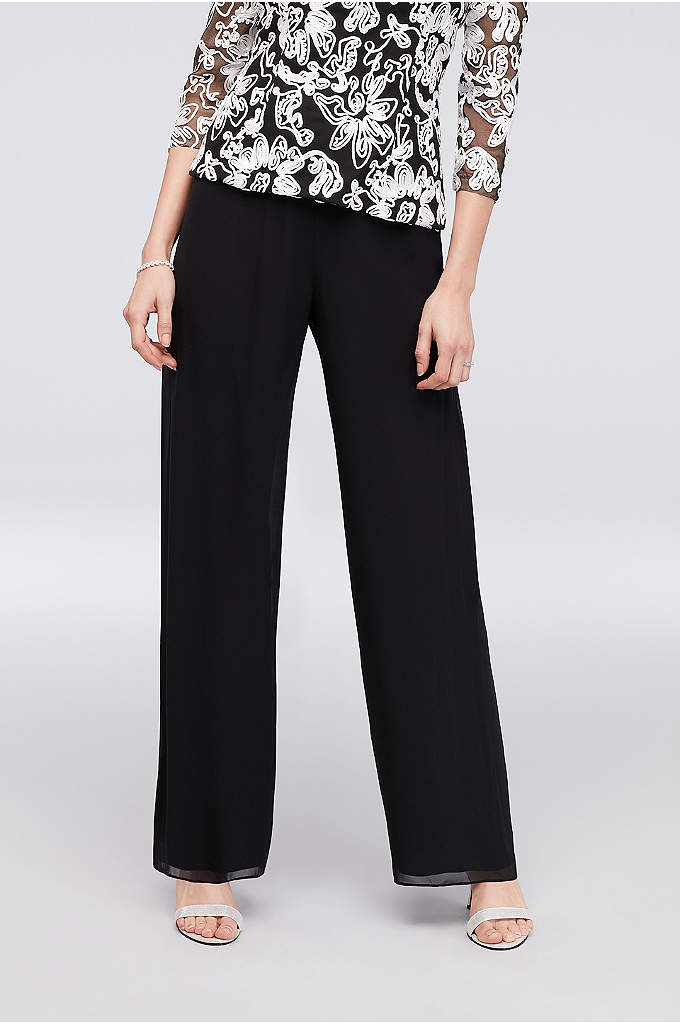 Chiffon Straight-Leg Pants with Picot Trim - A perfect pair of straight-leg pants for the