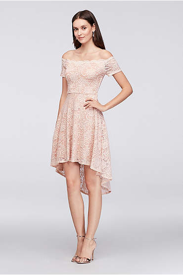Off-the-Shoulder Lace High-Low Dress
