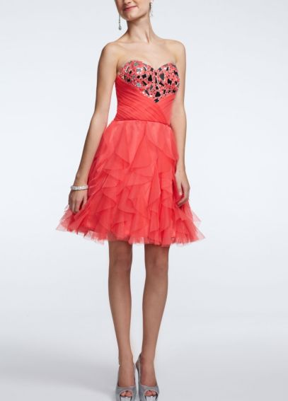 Strapless Cascade Ruffle Embellished Dress 360858