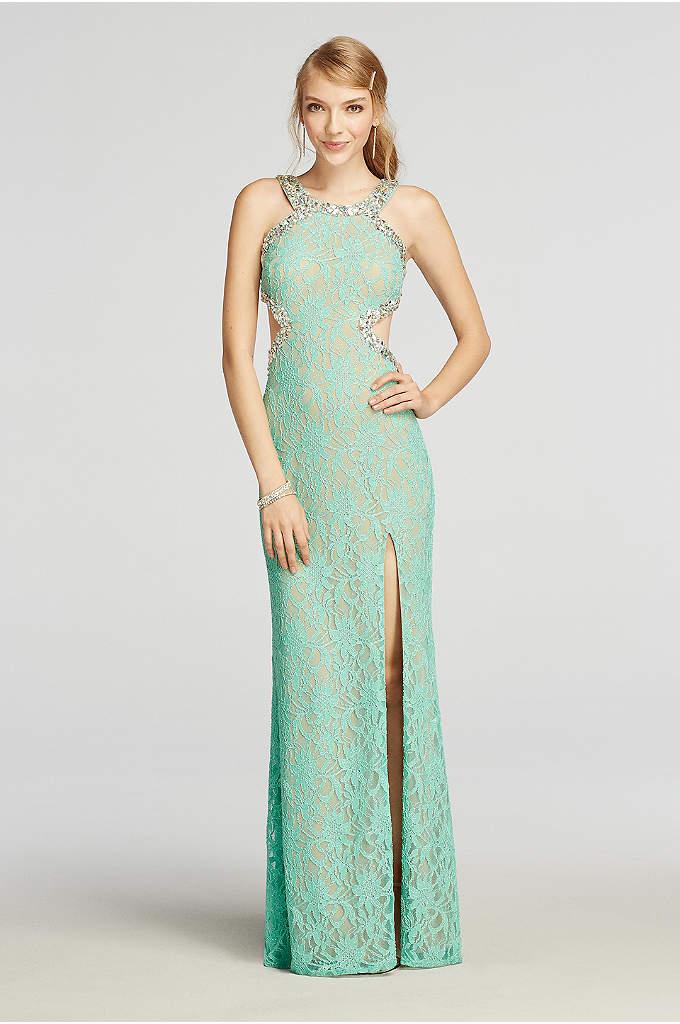 Halter Lace Prom Dress with Beaded Cut Outs