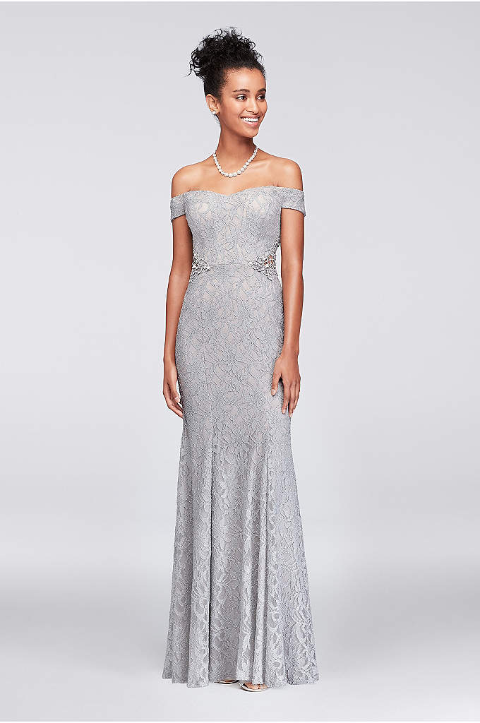 Lace Off-The-Shoulder Gown with Beaded Sides - Crystal- and pearl-topped geometric crochet creates intriguing detail
