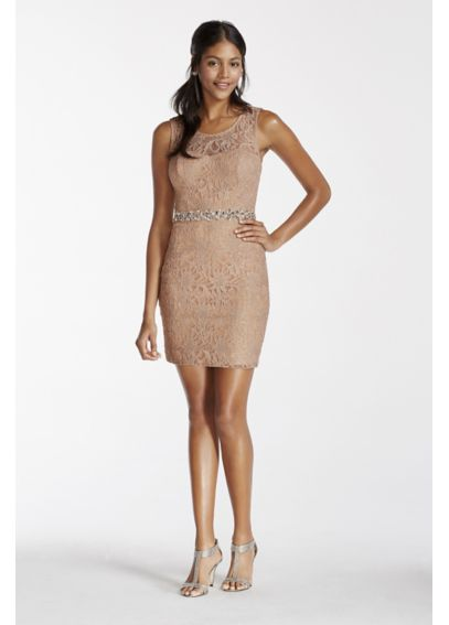 Illusion Lace Tank Short Dress with Sequin Waist 3622MS2N