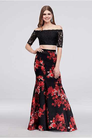 Off-the-Shoulder Crop Top and Mermaid Skirt Set