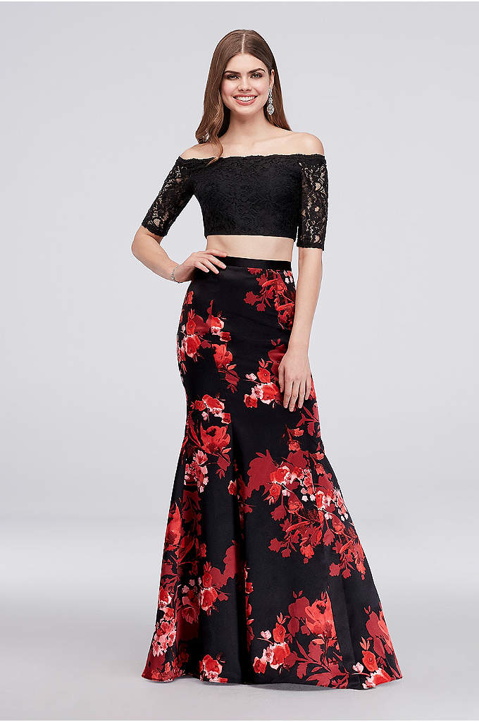 Off-the-Shoulder Crop Top and Mermaid Skirt Set - A scalloped off-the-shoulder neckline and a bold floral