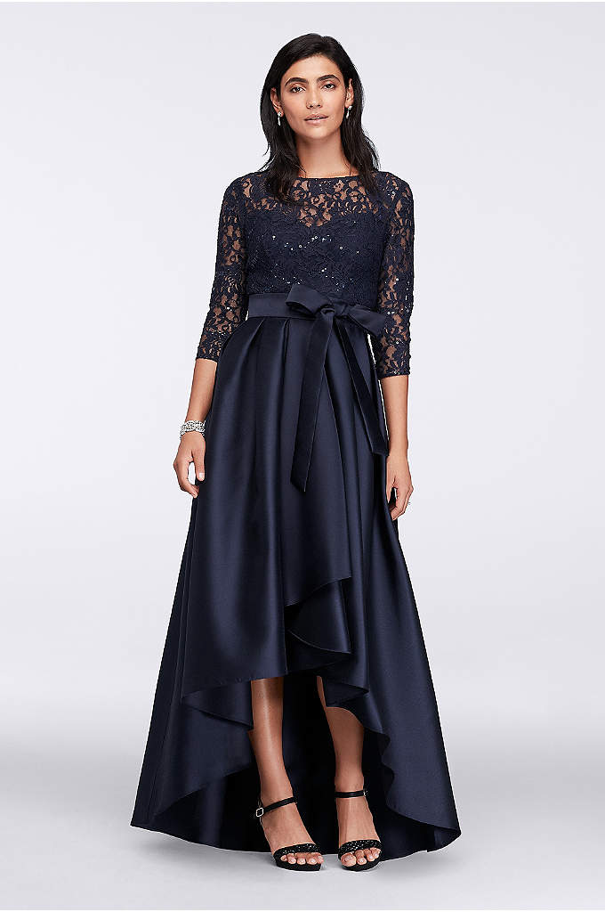 Lace Bodice High-Low Ball Gown - A high-low mikado ball skirt, perfect for showing
