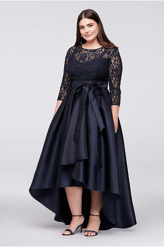Lace Bodice Plus-Size High-Low Ball Gown - A high-low mikado ball skirt, perfect for showing