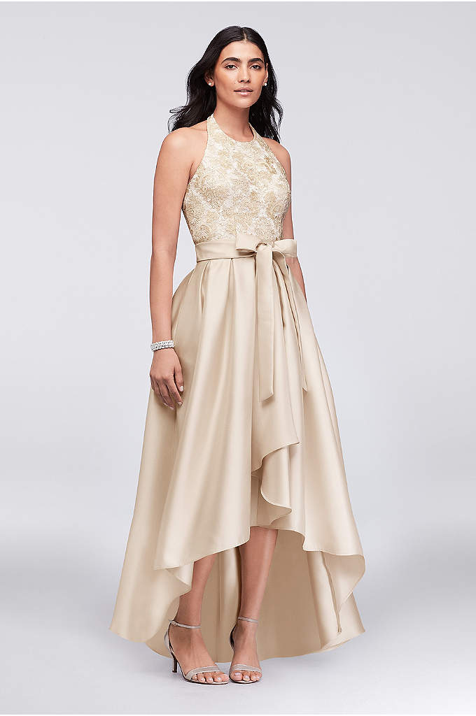 Lace and Mikado Halter Ball Gown with Sash - The classic halter-style bodice, with a high neck