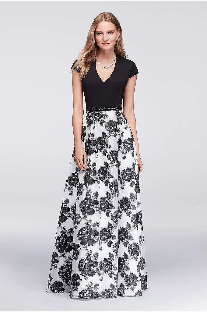 Printed Organza Cap Sleeve Ball Gown - The perfect balance of simple and striking, this