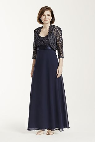 Long Sleeve Metallic Lace Jacket Dress