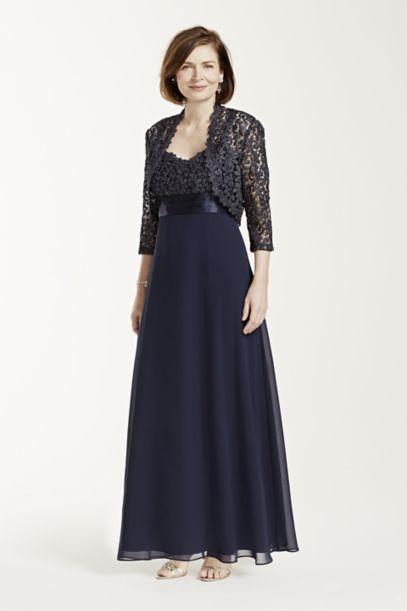 Long Sleeve Metallic Lace Jacket Dress - Davids Bridal