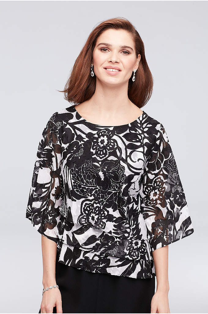 3/4 Sleeve Floral Top with Asymmetrical Hem - Topped with a bold floral burnout print and
