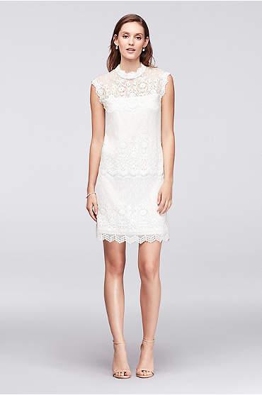 Lace Mix High-Neck Shift Dress
