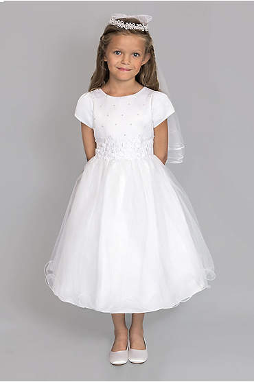 Satin and Tulle Beaded Communion Dress